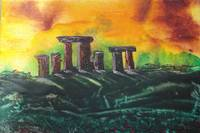 Stonehenge in encaustics