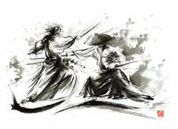 Two-samurai-wild-fight-scenery-painting