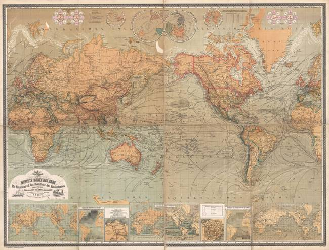 Stunning vintage world map artwork for sale on fine art prints vintage map of the world 1870 by alleycatshirts gumiabroncs Gallery
