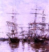 The Port 1886  by Eugene Boudin Restored Enhanced