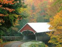 Flume Covered Bridge in Autumn, Franconia Notch St