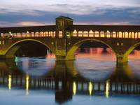 Covered Bridge Over the Ticino River, Pavia, Italy