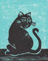 Black Cat with Teal Print Abigail Davidson