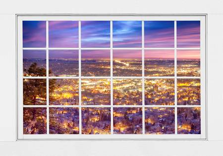 Downtown Boulder City Lights Sunrise  Window View