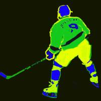 Hockey Center black green yellow blue (c) Art Prints & Posters by Ed Marion