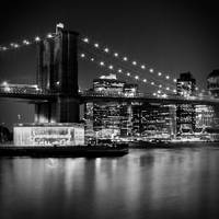 Night Skyline Manhattan Brooklyn Bridge Bw