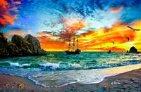 Fantasy Art-Pirate Ship Sailing-Red Orange Sunset