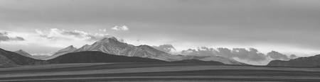 Twin Peaks Panorama View from Farm Lands BW