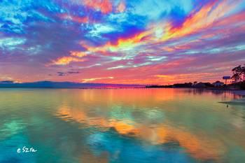 Pink Sunset Sea Beautiful Sunrise Cloud Streaks By Eszra