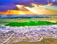 Heavenly Sun Rays Cast Light Breaking Sea Wave