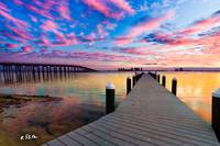 Purple Cloud Wisp Sunset Reflection-Pier Landscape