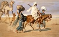 Bedouin family travels across the desert