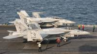 Two F/A-18 Super Hornet aircraft on the flight dec