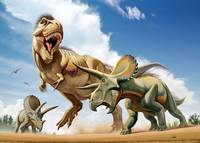Tyrannosaurus Rex fighting with two Triceratops