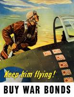 Vintage World War II poster of a fighter pilot cli