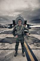 U.S. Air Force pilot standing in front of a F-15C