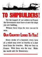 World War II propaganda poster featuring a ship st