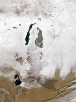 Snow around the Aral Sea
