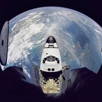 Fisheye view of the Space Shuttle Atlantis