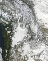Fog and snow in the Pacific Northwest true color