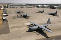 C130 Hercules aircraft stationed at an airbase