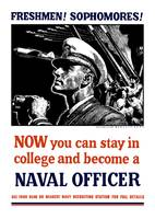 Vintage World War II poster of a U.S. Naval Office