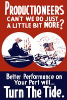 World War II propaganda poster of a ship sinking a