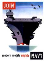 Vintage World War II poster of an aircraft carrier