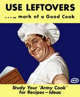 Vintage World War II poster of an army cook readin