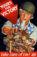 Vintage World War II poster of Uncle Sam wearing a