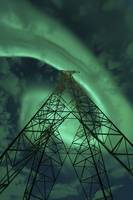 Powerlines and aurora borealis, Tjeldsundet, Norwa