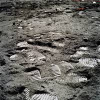 Lunar foot prints on the moon