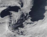 Shipwaveshaped clouds in the South Indian Ocean
