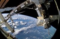 Space Shuttle Atlantis and a Soyuz spacecraft