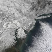 Satellite view of a Noreaster snow storm over the