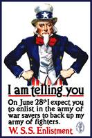 World War I poster of Uncle Sam standing with his
