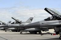 F16 Fighting Falcons await to launch for a trainin
