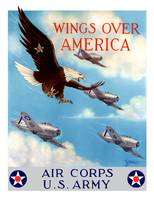 World War II poster of a bald eagle flying in the