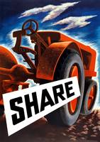 Vintage World War II poster of a tractor plowing a