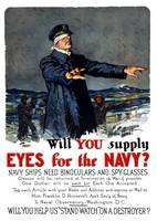 Vintage World War I propaganda poster featuring a