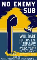 World War II poster of a periscope rising from the