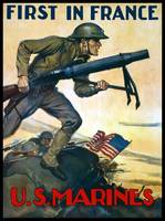 World War One poster of Marines charging into batt