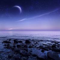 Moon rising over rocky seaside against starry sky