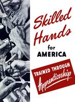 World War II poster showing many hands doing vario