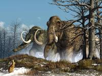 A rabbit witnesses a herd of mammoths in a snowy f
