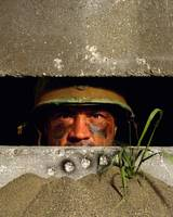 Soldier in bunker