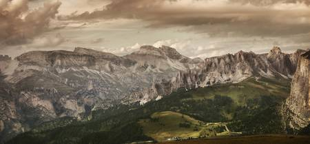 Aerial view of Dolomite Alps against tranquil clou