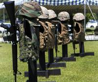 Memorials of flak jackets and protective helmets
