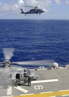 An MH 60S Sea Hawk helicopter approaches the fligh