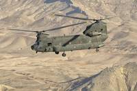 Italian Army CH-47C Chinook helicopter in flight o